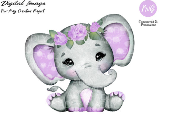 Print on Demand: Purple Floral Elephant Clip Art Graphic Illustrations By adlydigital - Image 1