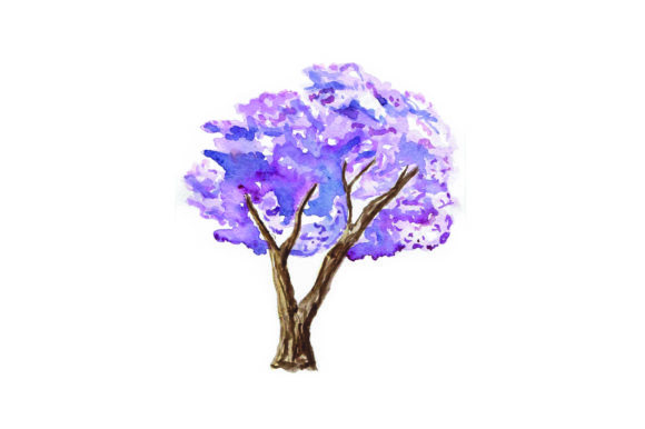 Download Free Jacaranda Tree Watercolor Svg Cut File By Creative Fabrica for Cricut Explore, Silhouette and other cutting machines.