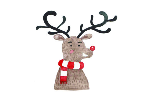 Rudolph - Watercolor Christmas Craft Cut File By Creative Fabrica Crafts
