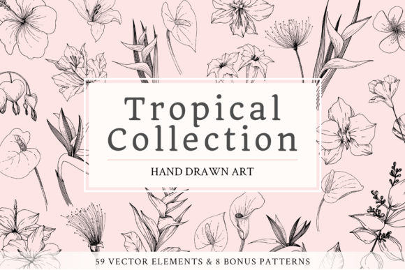 Download Free Vector Tropical Leaves And Flowers Grafico Por Mystocks for Cricut Explore, Silhouette and other cutting machines.