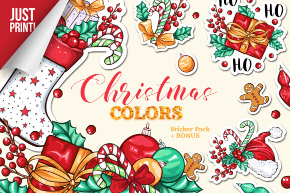 Christmas Colors Vector Sticker Pack Graphic Print Templates By ilonitta.r