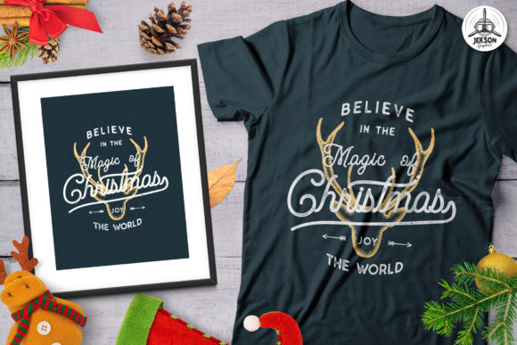 Magic Christmas T-Shirt Retro Design Graphic Print Templates By JeksonGraphics