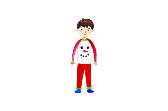 Download Free Boy With Christmas Pajamas Watercolor Svg Cut File By Creative Fabrica Crafts Creative Fabrica for Cricut Explore, Silhouette and other cutting machines.