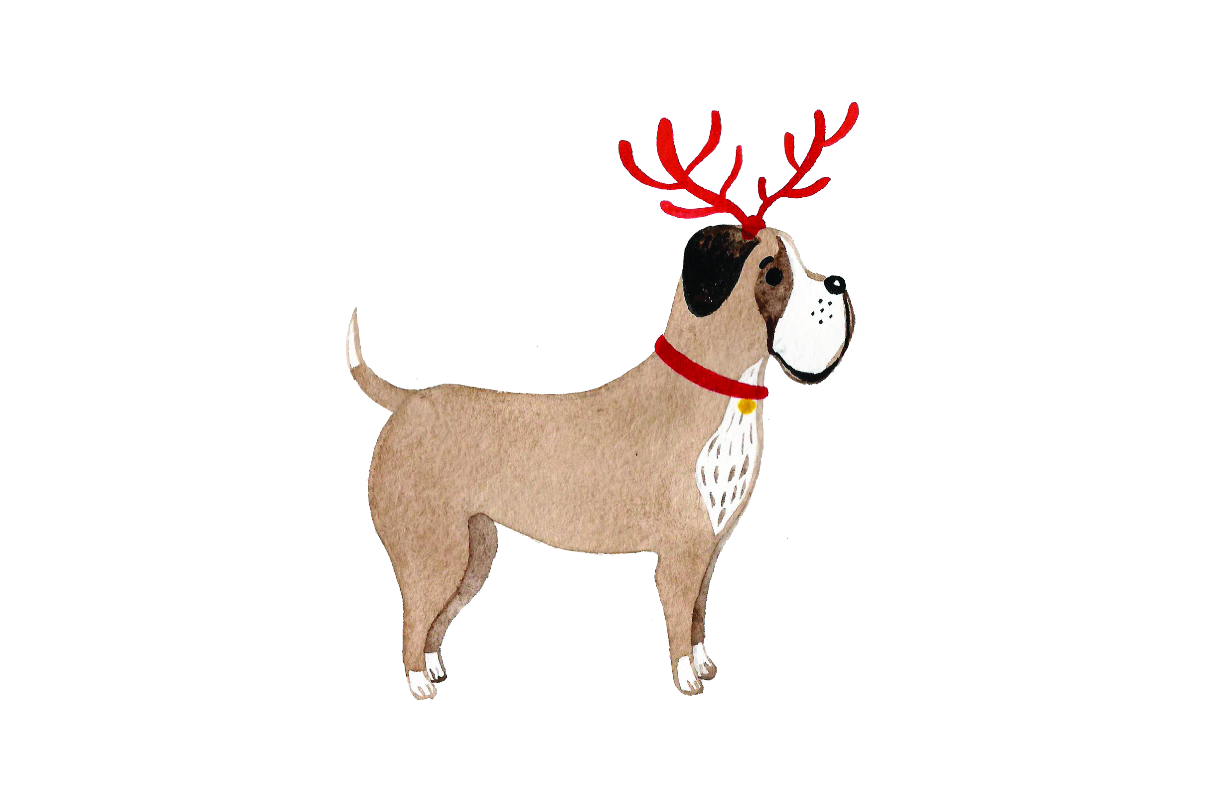 Download Free Dog With Red Antlers Watercolor Svg Cut File By Creative for Cricut Explore, Silhouette and other cutting machines.