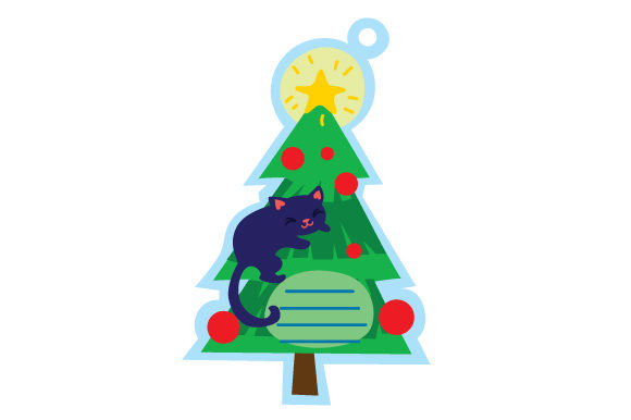 Christmas Tag With Christmas Tree And Cat Svg Cut File By