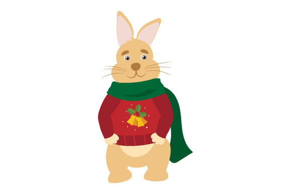 Download Free Bunny Wearing Christmas Sweater And Scarf Svg Cut File By for Cricut Explore, Silhouette and other cutting machines.