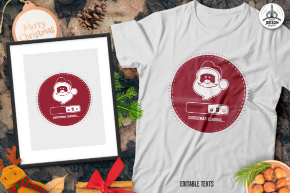 Christmas Loading Santa T-Shirt Graphic Print Templates By JeksonGraphics