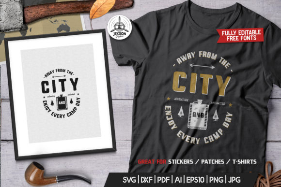Download Free Away From The City Camping Retro Graphic By Jeksongraphics for Cricut Explore, Silhouette and other cutting machines.