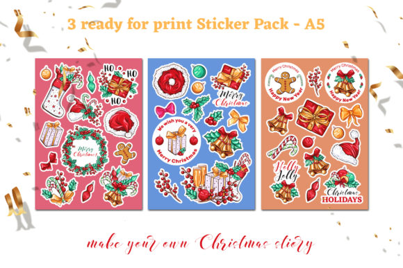 Christmas Colors Vector Sticker Pack Graphic Print Templates By ilonitta.r - Image 2