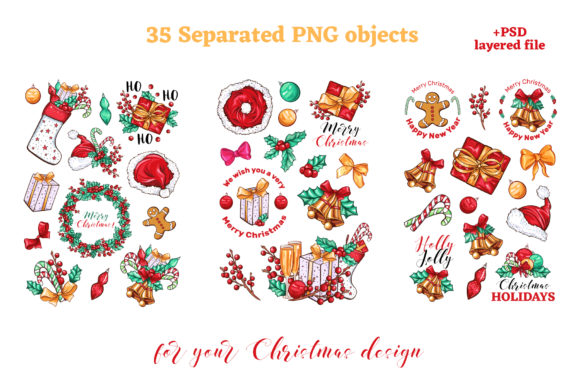 Christmas Colors Vector Sticker Pack Graphic Print Templates By ilonitta.r - Image 3