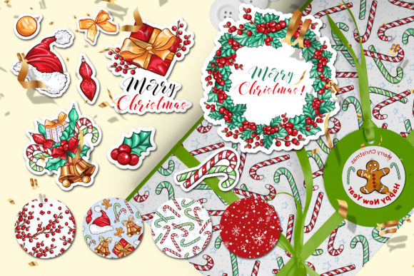 Christmas Colors Vector Sticker Pack Graphic Print Templates By ilonitta.r - Image 4