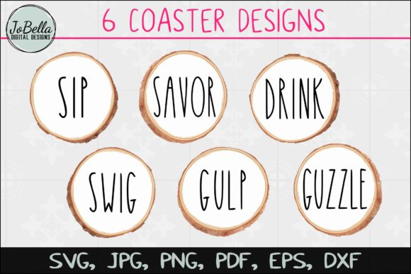 Coaster Designs (Set of 6) Graphic Crafts By JoBella Digital Designs