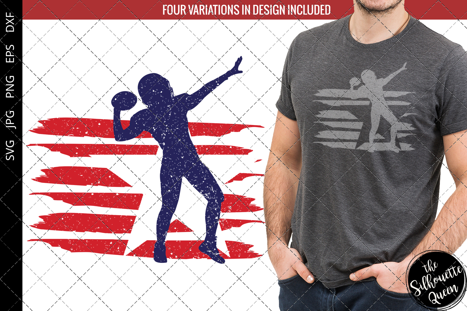 Download Free American Football 2 Flag Graphic By Thesilhouettequeenshop for Cricut Explore, Silhouette and other cutting machines.