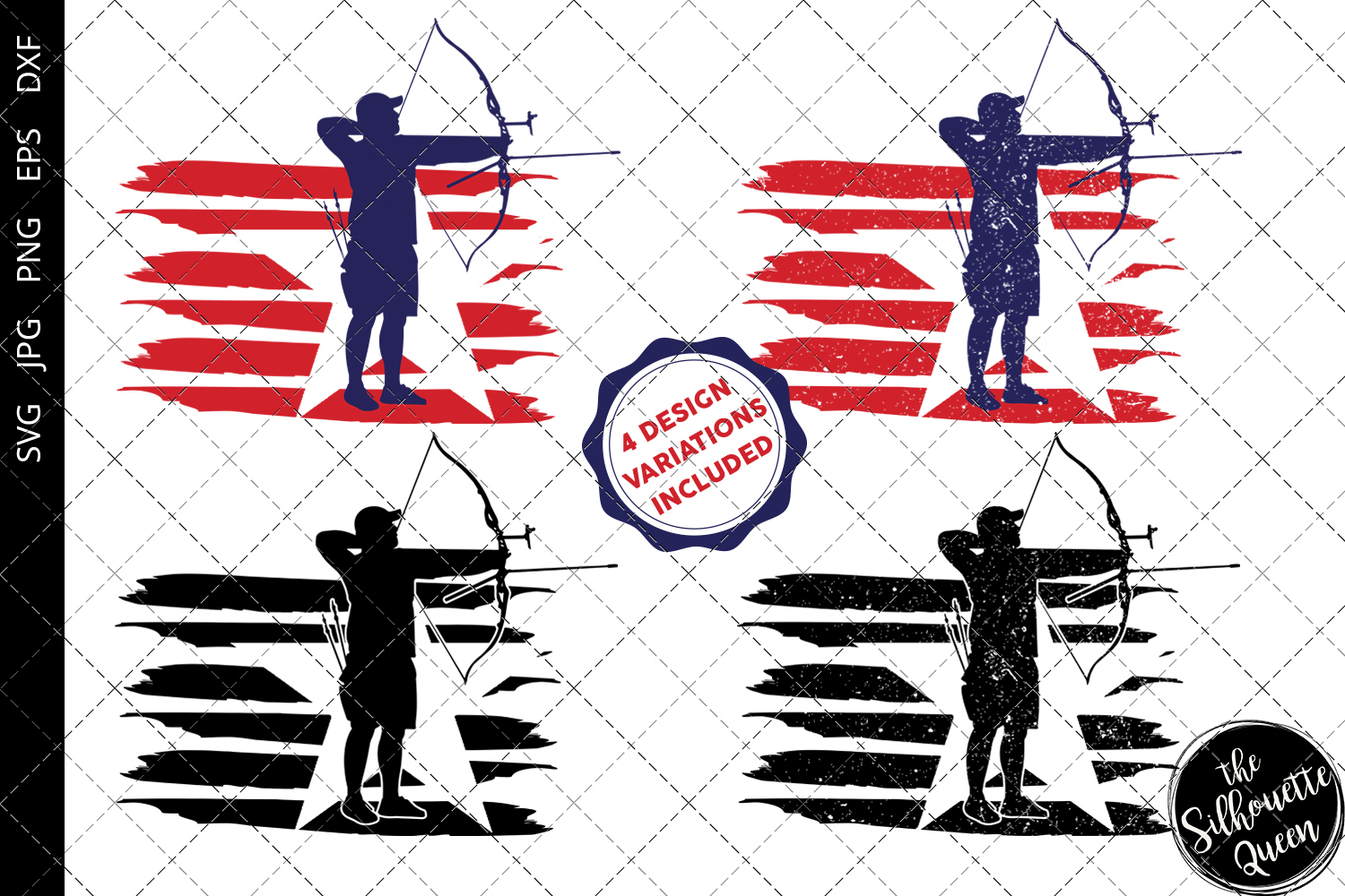 Download Free Archery Men Flag Graphic By Thesilhouettequeenshop Creative for Cricut Explore, Silhouette and other cutting machines.