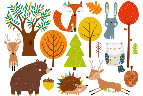 Scandinavian Woodland Animals Graphic Illustrations By ClipArtisan