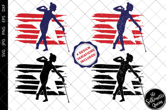 Download Free Baton Twirling 2 Flag Graphic By Thesilhouettequeenshop for Cricut Explore, Silhouette and other cutting machines.