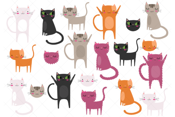 Download Free Cats Clip Art Graphic By Clipartisan Creative Fabrica for Cricut Explore, Silhouette and other cutting machines.