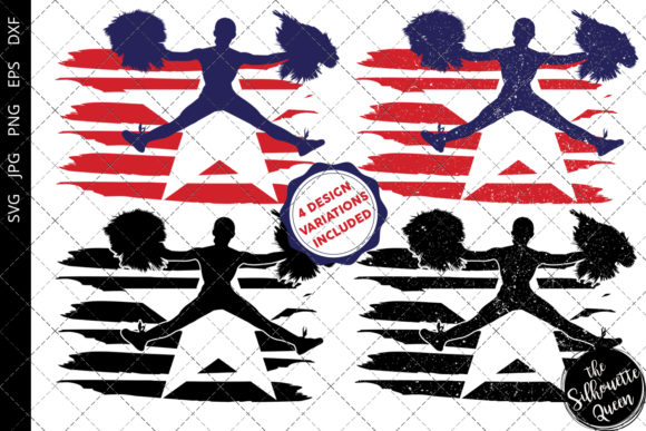 Download Free Cheerleading 2 Flag Graphic By Thesilhouettequeenshop Creative for Cricut Explore, Silhouette and other cutting machines.