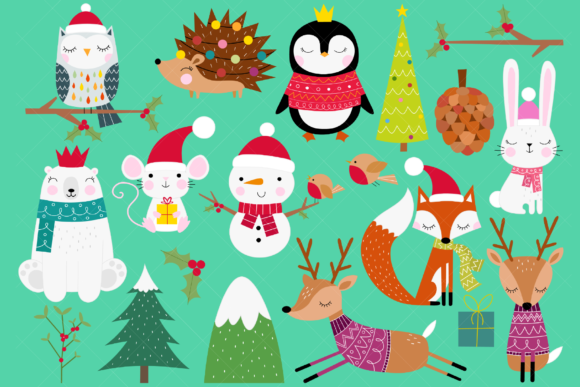 Christmas Animals Clip Art Graphic By ClipArtisan