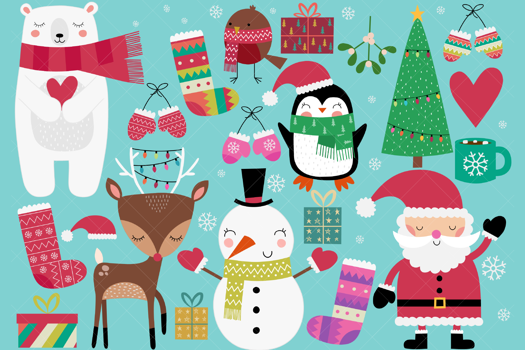 Download Free Christmas Clip Art Graphic By Clipartisan Creative Fabrica for Cricut Explore, Silhouette and other cutting machines.