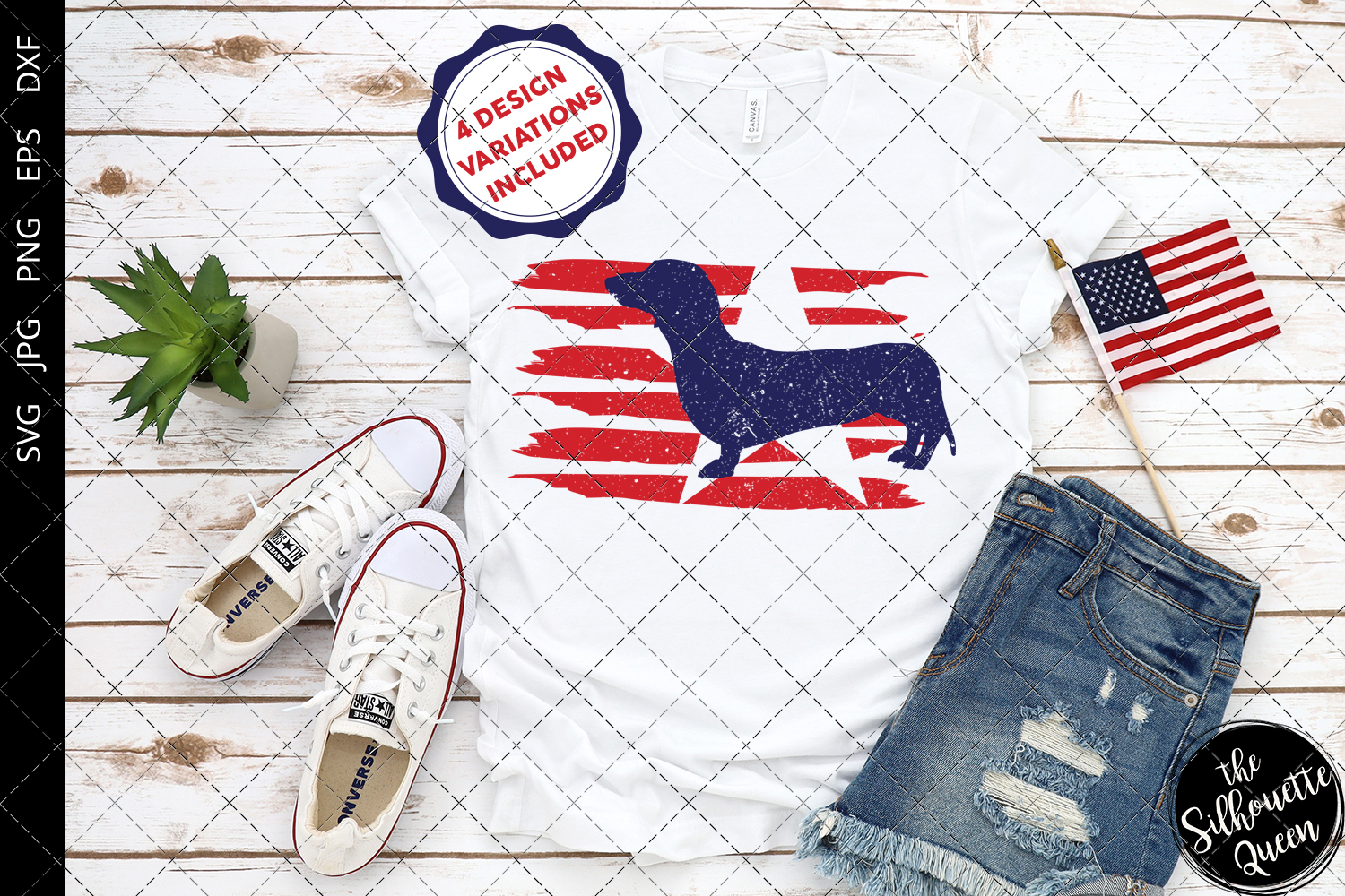 Download Free Dachshund Dog Flag Graphic By Thesilhouettequeenshop Creative for Cricut Explore, Silhouette and other cutting machines.