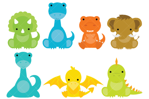 Baby Dinosaur Clip Art Graphic Illustrations By ClipArtisan - Image 1