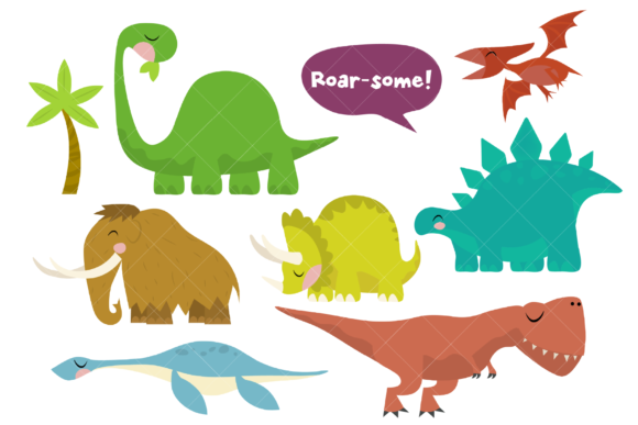 Dinosaurs Clip Art Prehistoric Animals Graphic Illustrations By ClipArtisan - Image 1