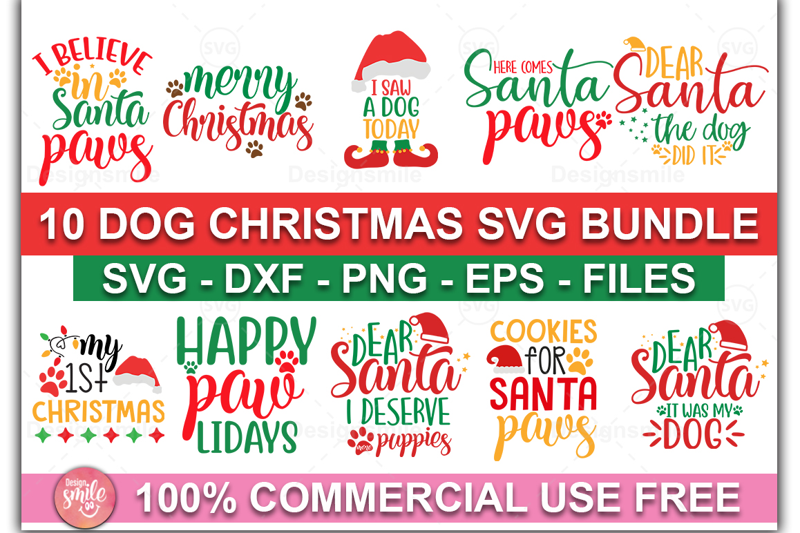 Download Free Dog Christmas Bundle Graphic By Designdealy Com Creative Fabrica for Cricut Explore, Silhouette and other cutting machines.
