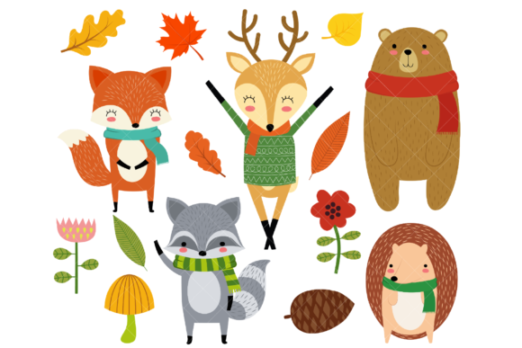 Woodland Animals Clip Art Graphic Illustrations By ClipArtisan - Image 1