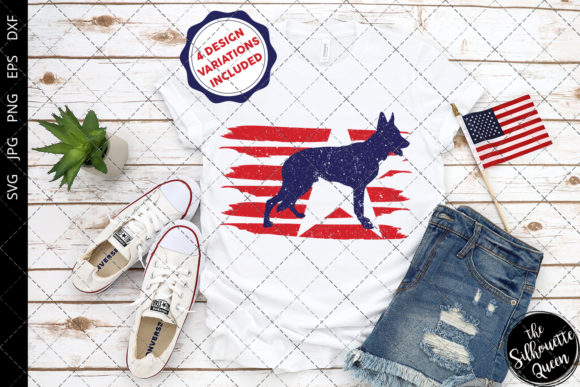 Download Free German Shepherd Dog Flag Graphic By Thesilhouettequeenshop for Cricut Explore, Silhouette and other cutting machines.