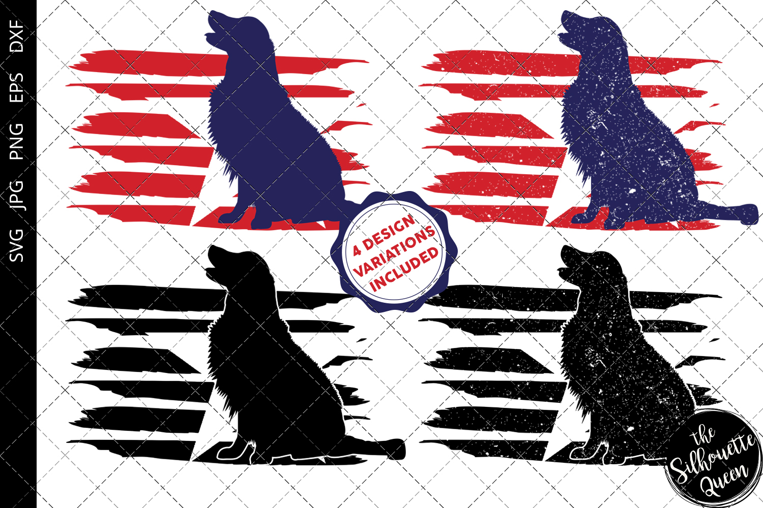 Download Free Golden Retriever Dog Flag Graphic By Thesilhouettequeenshop for Cricut Explore, Silhouette and other cutting machines.