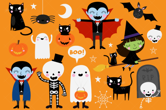 Download Free Halloween Clip Art Graphic By Clipartisan Creative Fabrica for Cricut Explore, Silhouette and other cutting machines.