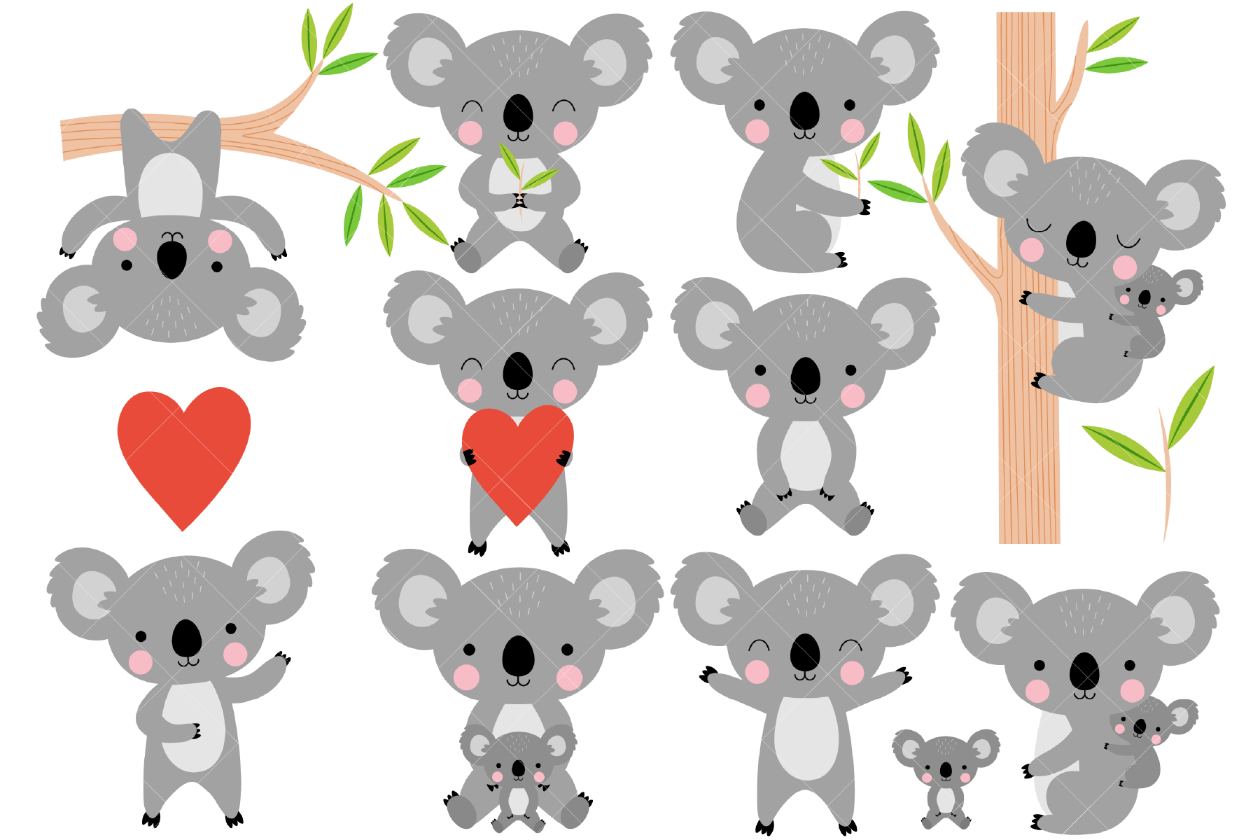 Download Free Koalas Clip Art Australian Animals Graphic By Clipartisan for Cricut Explore, Silhouette and other cutting machines.