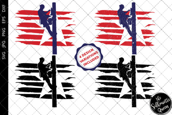 Download Free Power Lineman Flag Graphic By Thesilhouettequeenshop Creative for Cricut Explore, Silhouette and other cutting machines.