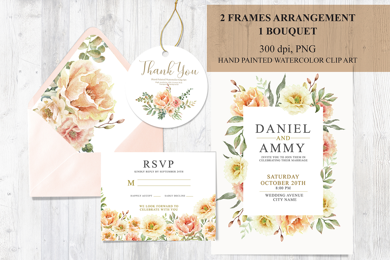 Download Free Watercolor Orange Flowers Foliage Frames Graphic By Sapg Art for Cricut Explore, Silhouette and other cutting machines.
