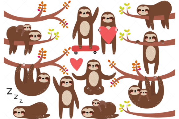 Sloths Clip Art Graphic Illustrations By ClipArtisan