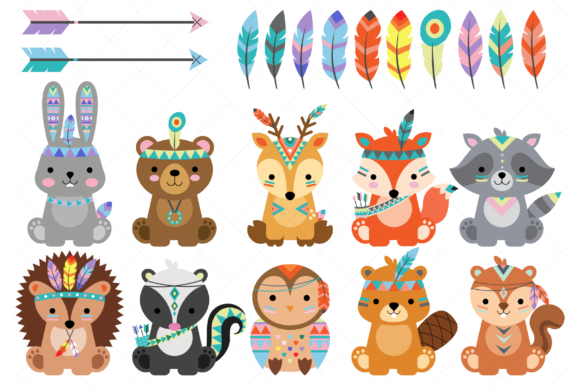 Tribal Woodland Animals Clipart Graphic Illustrations By ClipArtisan - Image 1