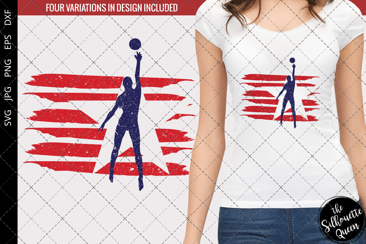 Download Free Volleyball Women Flag Graphic By Thesilhouettequeenshop for Cricut Explore, Silhouette and other cutting machines.