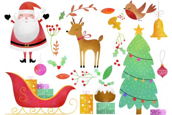 Download Free Watercolor Christmas Clip Art Graphic By Clipartisan Creative for Cricut Explore, Silhouette and other cutting machines.