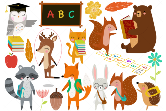 Woodland Animals Back to School Clip Art Graphic Illustrations By ClipArtisan