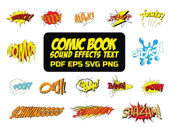 Print on Demand: Comic Book Sound Effects Clipart Graphic Illustrations By yumiguelgfxartshop - Image 1
