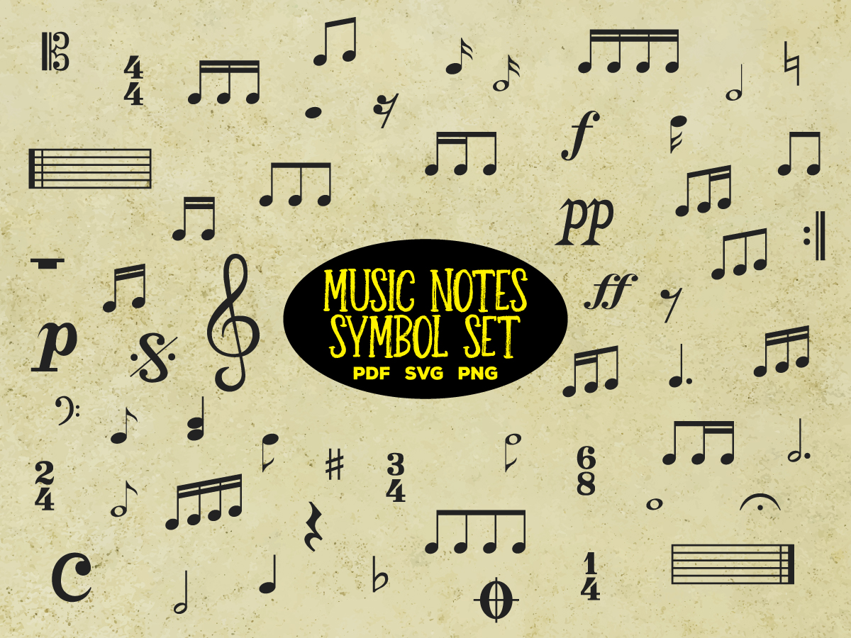 Download Free Music Notes And Symbols Vector Bundle Graphic By for Cricut Explore, Silhouette and other cutting machines.