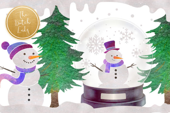 Print on Demand: Snowman & Snowglobe Clipart Set Graphic Illustrations By daphnepopuliers - Image 3