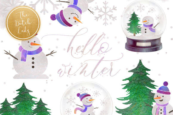 Print on Demand: Snowman & Snowglobe Clipart Set Graphic Illustrations By daphnepopuliers - Image 1