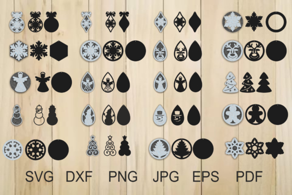 Print on Demand: Christmas Earrings Graphic Crafts By yulnniya - Image 1