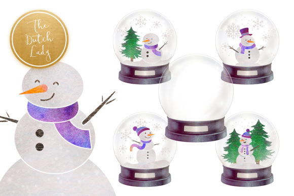 Print on Demand: Snowman & Snowglobe Clipart Set Graphic Illustrations By daphnepopuliers - Image 6