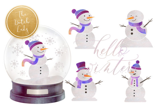 Print on Demand: Snowman & Snowglobe Clipart Set Graphic Illustrations By daphnepopuliers - Image 5