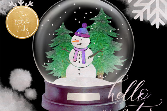 Print on Demand: Snowman & Snowglobe Clipart Set Graphic Illustrations By daphnepopuliers - Image 2