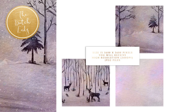 Print on Demand: Digital Backgrounds Winter Sceneries Graphic Backgrounds By daphnepopuliers - Image 3