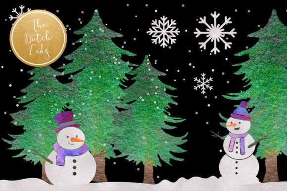 Print on Demand: Snowman & Snowglobe Clipart Set Graphic Illustrations By daphnepopuliers - Image 4
